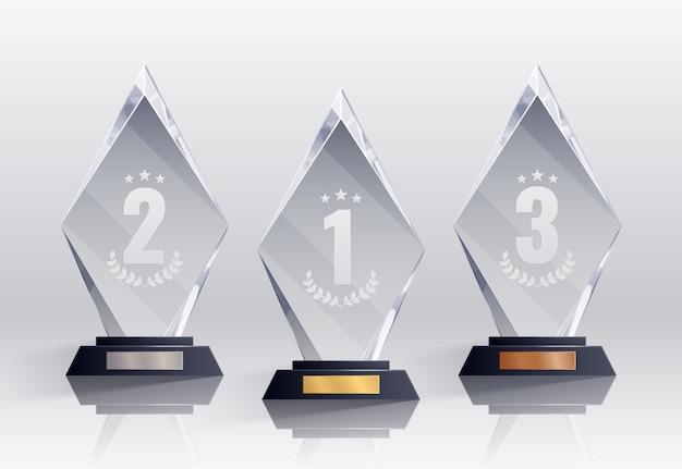Konkursowe Trofea Realistyczne Zestaw Z Symbolami Miejsc Na Białym Tle Darmowych Wektorów
