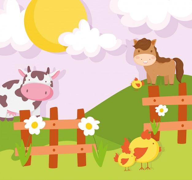 Końska Krowa Kurczaków Drewniany Płotowy łąkowy Zwierzęta Gospodarskie Premium Wektorów