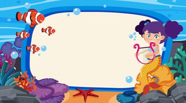 Konstrukcja Ramy Z Syreną I Małą Rybką W Oceanie Premium Wektorów