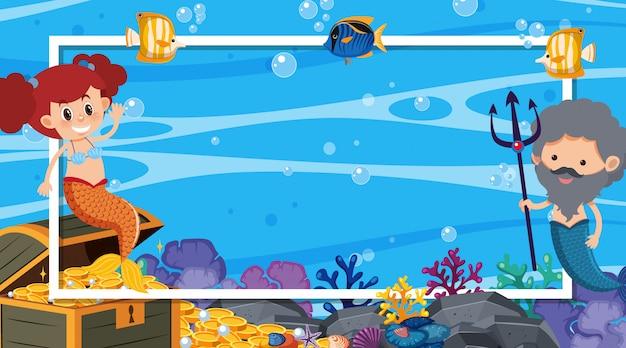Konstrukcja Ramy Z Syreną I Rybami Pływającymi W Morzu Premium Wektorów