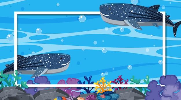Konstrukcja Ramy Z Wielorybami Pływającymi W Oceanie Premium Wektorów