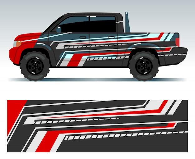 Konstrukcja Samochodu Wyścigowego. Pojazd Owinąć Grafiki Winylowe Z Ilustracji Wektorowych Paski Premium Wektorów