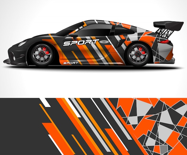 Konstrukcja Sport Car Wrap I Kolorystyka Pojazdu Premium Wektorów