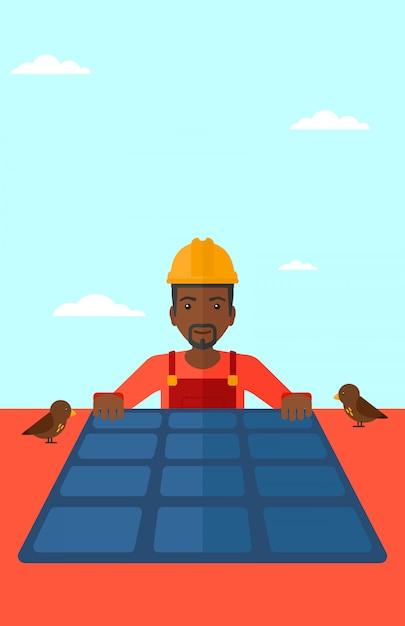 Konstruktor z panelem słonecznym. Premium Wektorów