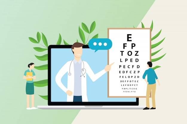 Konsultacja Okulisty Z Lekarzem I Pacjentem Premium Wektorów