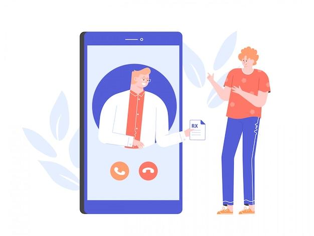 Konsultacja Z Lekarzem Online. Aplikacja Medyczna Na Smartfonie. Diagnoza Dla Pacjenta I Recepta. Mężczyzna Terapeuta Płaska Ilustracja Z Postaciami. Premium Wektorów
