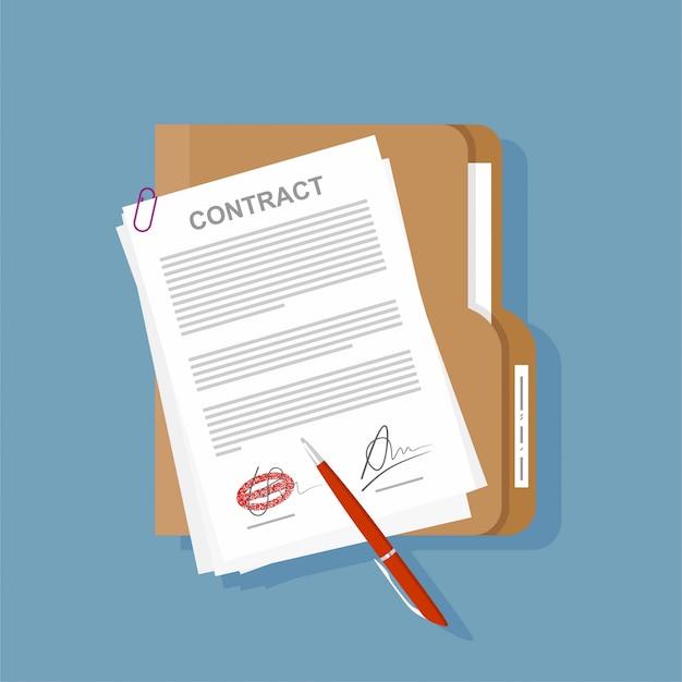 Kontraktacyjny Ikony Zgody Pióro Na Biurko Płaskiej Biznesowej Ilustraci. Premium Wektorów