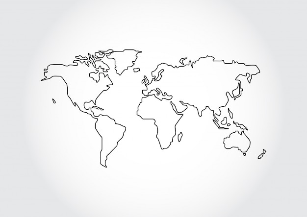 Kontur Mapa Swiata Na Bialym Tle Premium Wektor