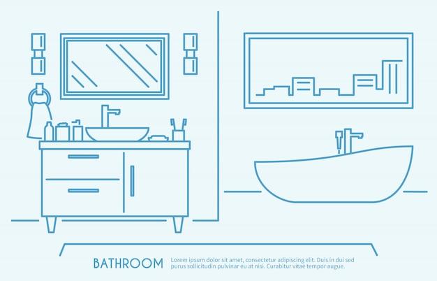 Kontur mebli łazienkowych Darmowych Wektorów