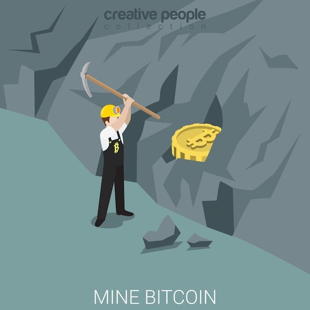 Kopalnia Bitcoinów Przetwarza Płaskie Izometryczne Darmowych Wektorów