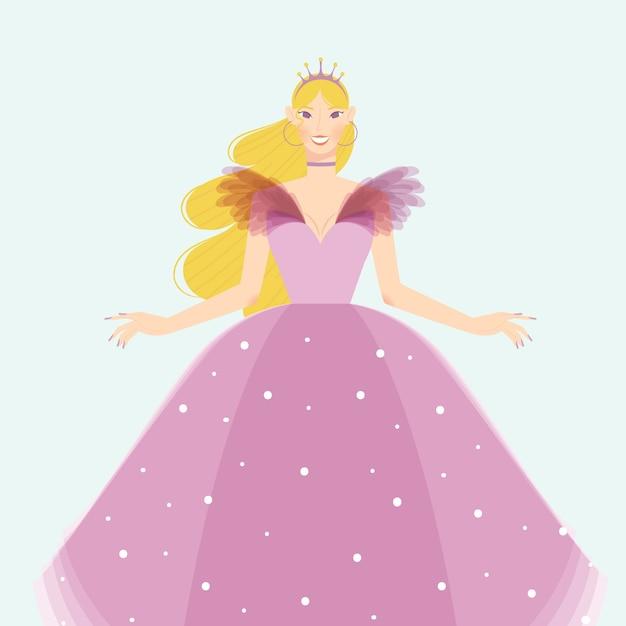 Kopciuszek Ubrany W Piękną Różową Sukienkę Darmowych Wektorów