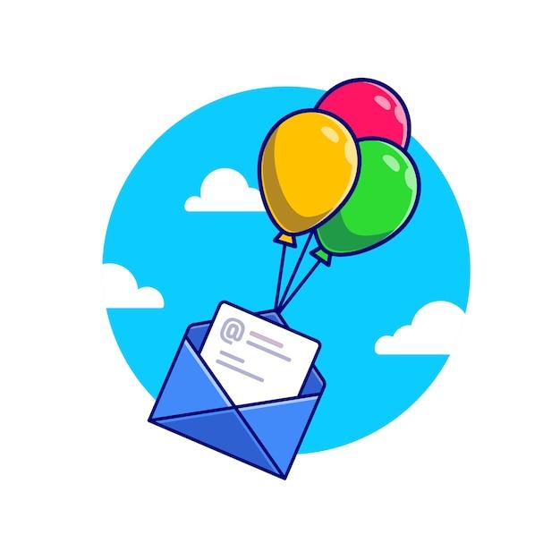 Koperta I Papier Latający Z Balonów Ikona Ilustracja Kreskówka. Koncepcja Ikona Urządzenia Biurowe Premium Wektorów