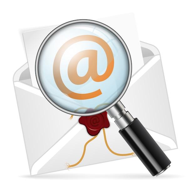 Koperta Z Lupą. Koncepcja - E-mail Wyszukiwania Premium Wektorów