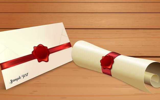 Koperta Z Przewijaniem Papieru Z Czerwoną Plombą Premium Wektorów