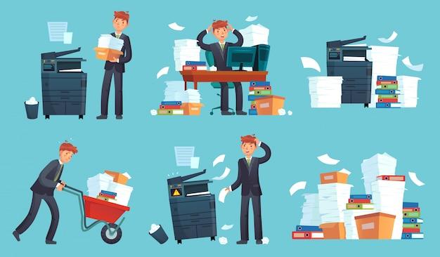 Kopiarka Dokumentów Biurowych, Drukowane Dokumenty Biznesowe, Biznesmen Złamał Drukarkę I Kopiarka Dokumentów Kreskówka Premium Wektorów