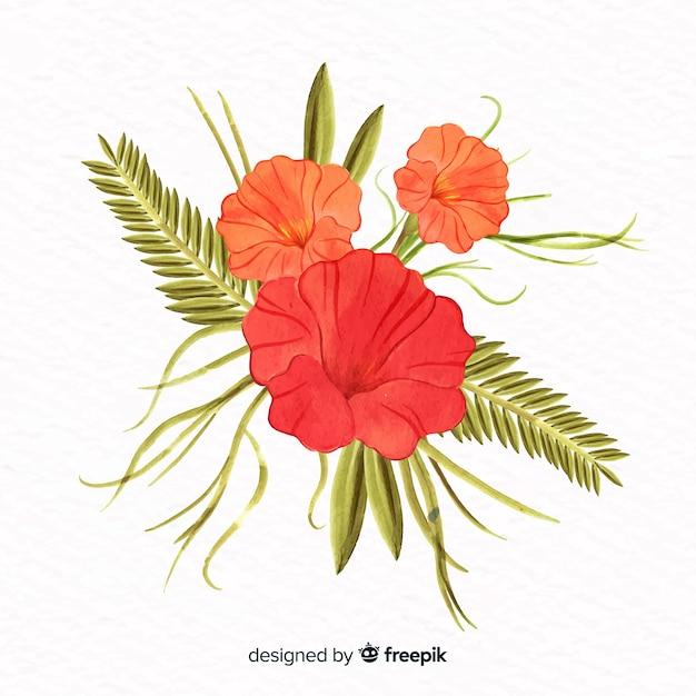 Koralowy kwiat w stylu przypominającym akwarele Darmowych Wektorów