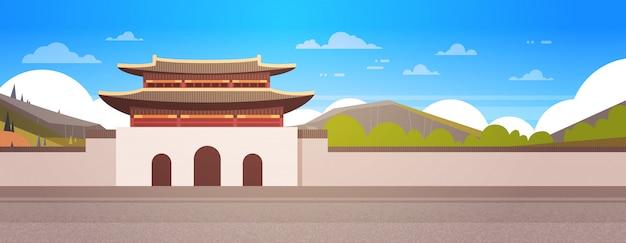 Korea Palace Over Mountains Landscape South Korean Temple Building Słynny Eastern Landmark Premium Wektorów