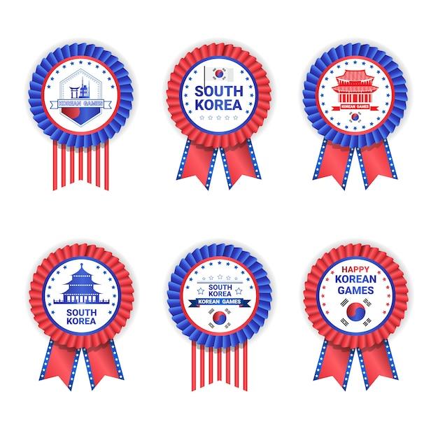 Korea Południowa Gry Medale Ustawić Szablon Na Białym Premium Wektorów