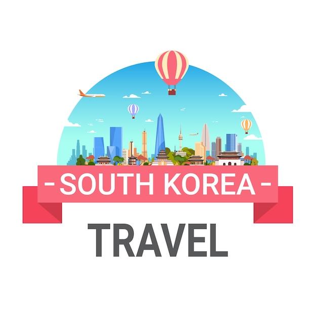 Korea Południowa Travel Seoul Landscape View Skyline Premium Wektorów