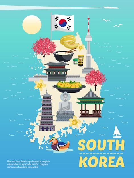 Korea Południowa Turystyki Pionowy Plakat Skład Z Doodle Obrazów Na Wyspie Sylwetka Z Ilustracją Morze I Tekst Darmowych Wektorów