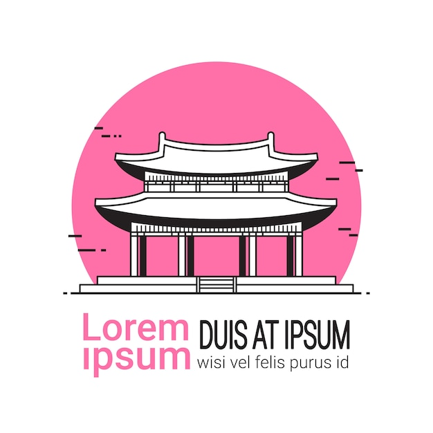 Koreański Pałac Ręcznie Rysowane Słynny Seul Landmark Tradycyjna świątynia Premium Wektorów