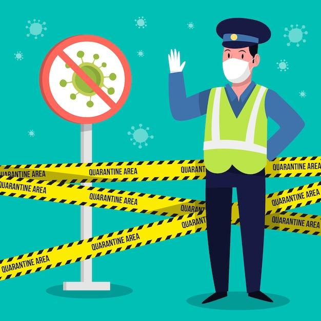 Koronawirus Kontrolujący Policję Darmowych Wektorów