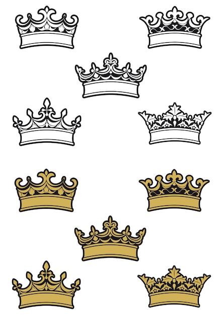 Korony I Diademy Heraldyczne Premium Wektorów