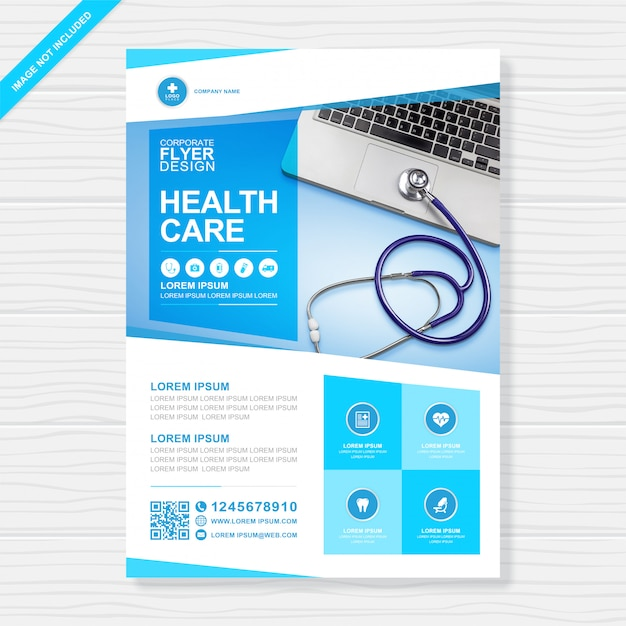 Korporacyjna opieka zdrowotna i medyczna pokrywa szablon projektu ulotki a4 Premium Wektorów