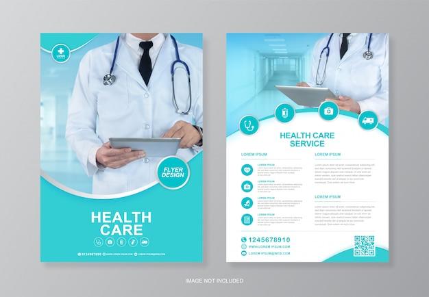 Korporacyjna Opieka Zdrowotna I Opieka Medyczna, Szablon Projektu Ulotki A4 Na Tylnej Stronie I Płaskie Ikony Premium Wektorów