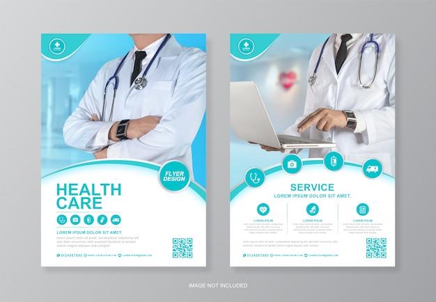 Korporacyjna Opieka Zdrowotna I Ubezpieczenie Medyczne, Szablon Projektu Ulotki A4 Tylnej Strony Premium Wektorów