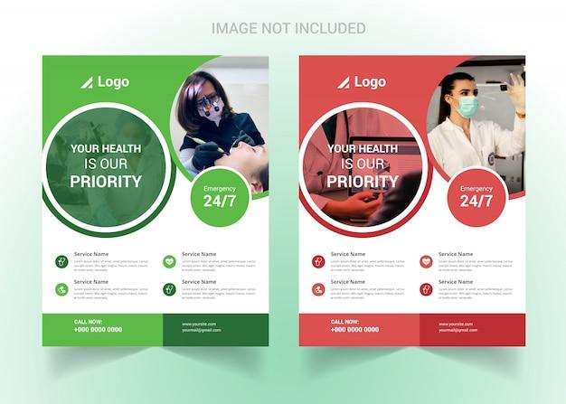Korporacyjna Opieka Zdrowotna I Ulotka Medyczna Premium Wektorów