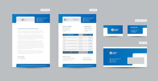 Korporacyjna Tożsamość Marki | Projektowanie Stacjonarne | Papier Firmowy | Wizytówka | Faktura | Koperta | Projekt Startowy Premium Wektorów