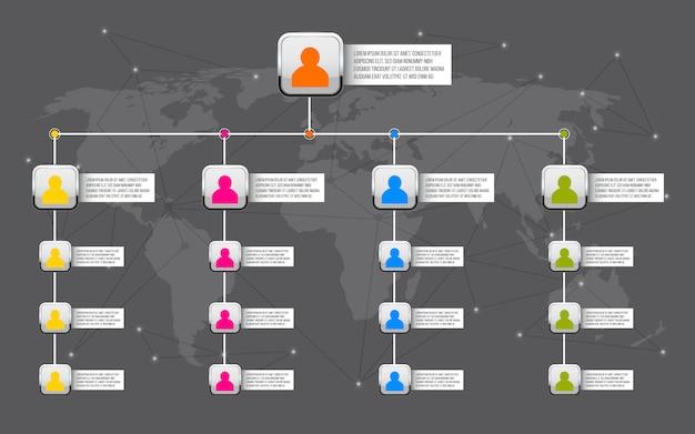 Korporacyjny wykres organizacyjny slajdów tło. Premium Wektorów