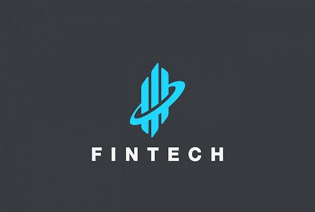 Korporacyjnych Fintech Logo Streszczenie Szablon Projektu. Diagram Wykresów Nieruchomości Koncepcja Logotypu Darmowych Wektorów