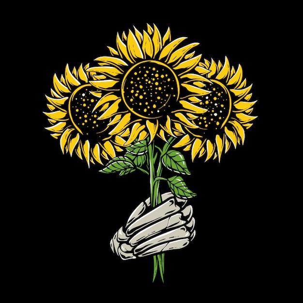 Kościec Wręcza Trzymać Słonecznikową Ilustrację Premium Wektorów