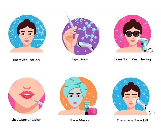 Kosmetologii Sześć Płaskich Okrągłych Ikon Pojęcia Z Laserową Skórą Unosi Się Twarzy Lifting Wargi Powiększenie Odizolowywającego Darmowych Wektorów
