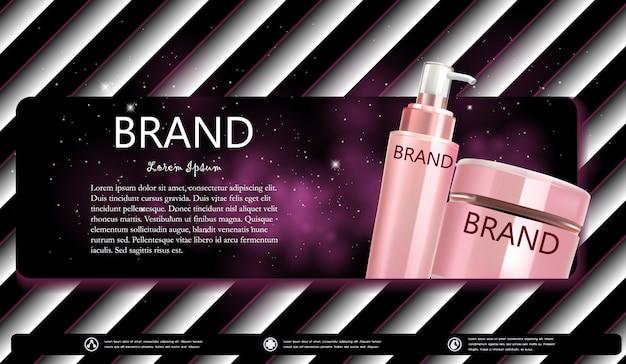 Kosmetyczna butelka kremu lub serum banner Premium Wektorów