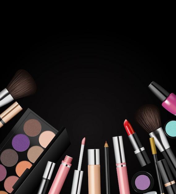 Kosmetyki do makijażu, moda tło, Premium Wektorów