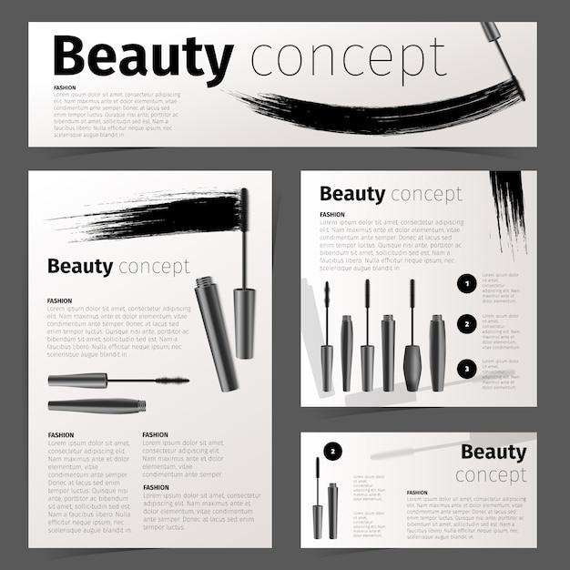 Kosmetyki Karty Mody, Baner I Ulotki Z Realistycznymi Przedmiotami Kosmetycznymi. Materiały Biurowe Darmowych Wektorów