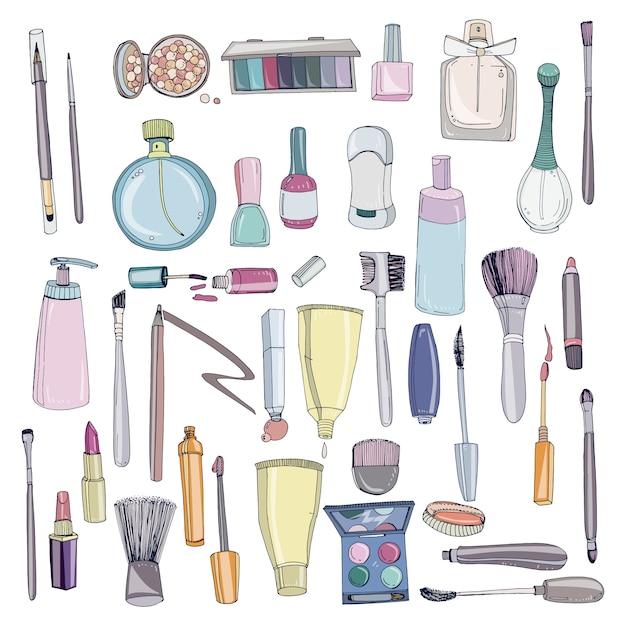 Kosmetyki Modne Z Obiektami Makijażu. Kolorowa Ręka Rysująca Ilustracyjna Kolekcja. Premium Wektorów