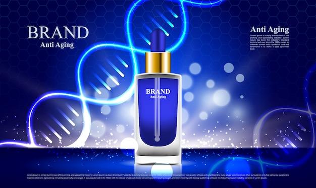 Kosmetyki Przeciwdziałające Starzeniu Się Reklam Na Niebieskim Tle Dna Premium Wektorów