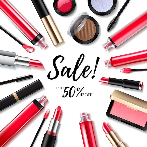Kosmetyki Sprzedaż Tło Z Produktami Do Ust I Oczu Premium Wektorów