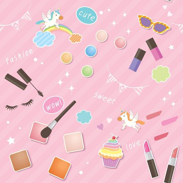Kosmetyki uroczy wzór Premium Wektorów