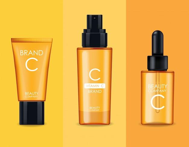 Kosmetyki Vitamin C, Maska, Zestaw Kremów I Serum, Firma Kosmetyczna, Butelka Do Pielęgnacji Skóry, Realistyczne Opakowanie I świeży Cytrus, Esencja Zabiegowa, Kosmetyki Kosmetyczne Premium Wektorów