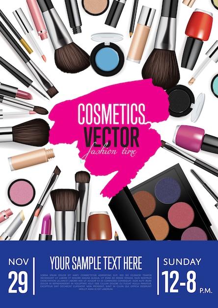 Kosmetyki wektor promocyjny szablon ulotki lub plakatu z datą i godziną Premium Wektorów