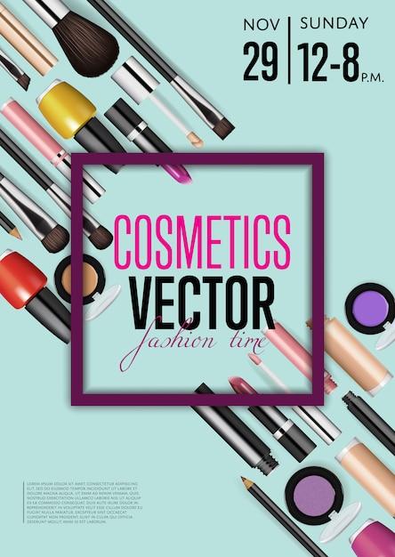 Kosmetyki wektor szablon plakat promocyjny z datą i godziną Premium Wektorów