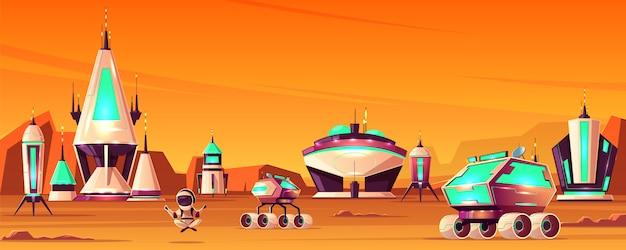 Kosmiczna kolonia na marsie kreskówka koncepcja ze statkami kosmicznymi lub rakiety, futurystyczne budynki Darmowych Wektorów