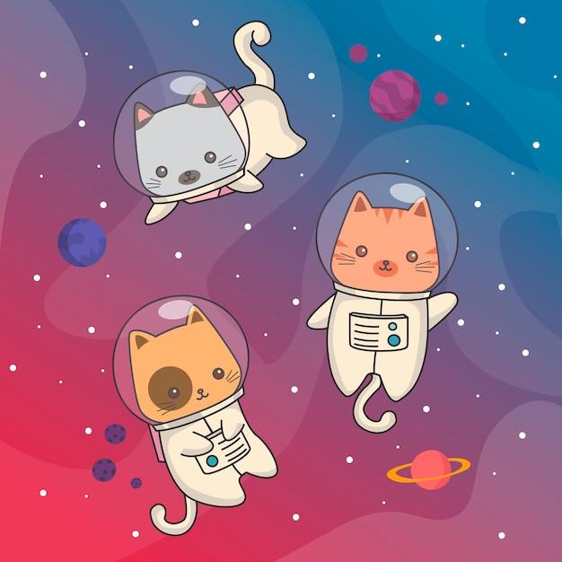Kosmiczne koty Premium Wektorów