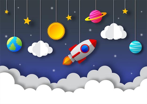 Kosmiczne Nocne Niebo. Księżyc, Gwiazdy, Rakieta I Chmury O Północy. Styl Sztuki Papierowej. Premium Wektorów