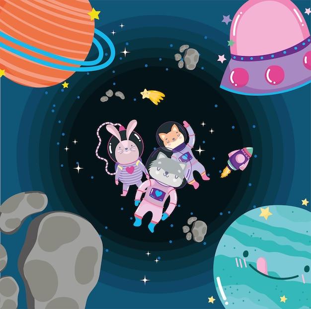 Kosmiczne Zwierzęta W Skafandrze Kosmicznym I Przygodach Planet Eksplorują Ilustrację Kreskówki Premium Wektorów